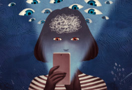 Woman's face is lit up by her smart phone, while behind her, in the darkness, many eyes are watching
