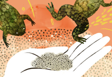 Colorful illustration shows a esearcher with frogs and frog eggs.