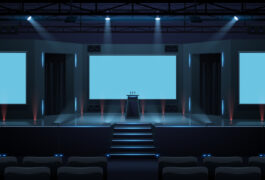 Empty conference hall in blue light.