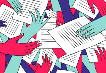 many hands reaching for and sharing papers