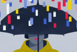 illustration shows woman under umbrella, with genes falling like rain