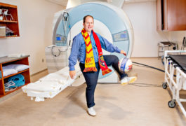 Mikle South shows off his soccer moves inside the MRI room