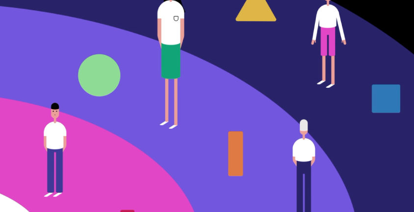 People standing with shapes around them