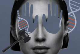 Woman's face with the eyes covered by hand shapes, with a DNA helix in the background, and a judge's gavel.