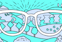 Illustration shows the world is distorted through a point of view pair of glasses