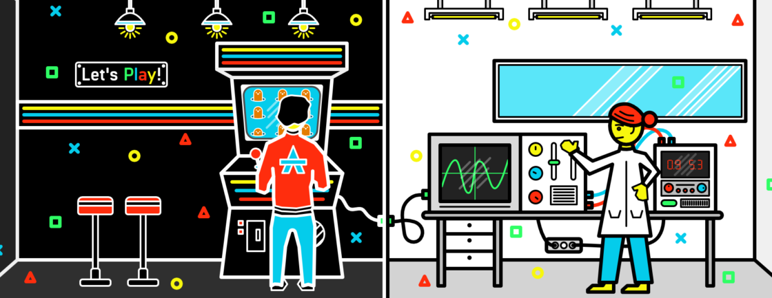 Illustration: on the left, a person plays a video game in an arcade. On the right, a scientist stands in front of scientific instruments.