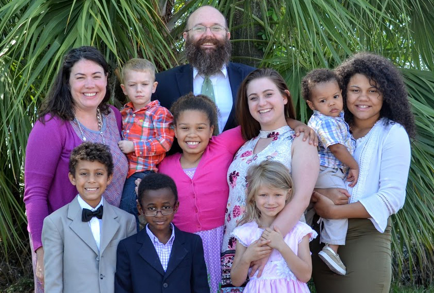 Big family and extended family with foster parents.