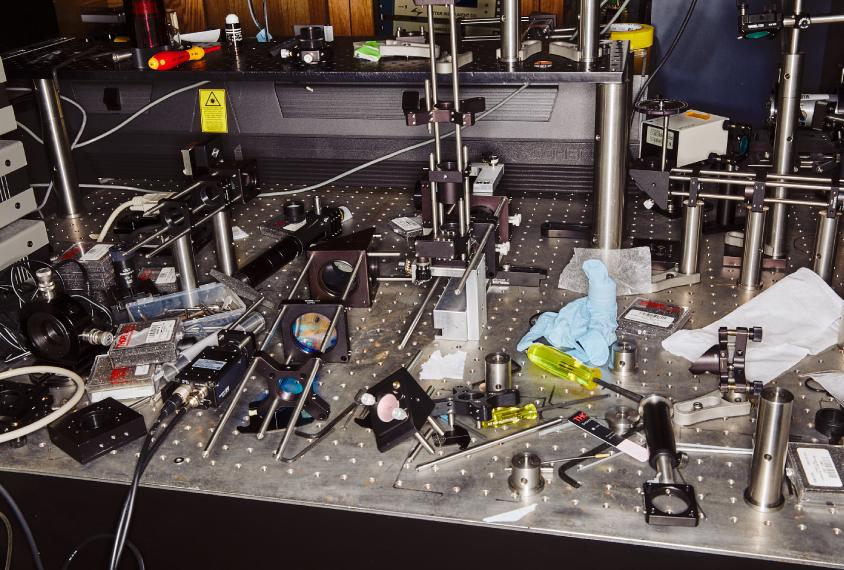 Gadgets on metal surface in the Sabatini lab, Harvard.