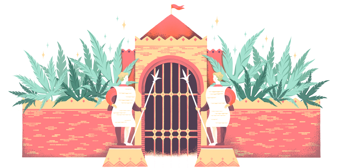 Gate keepers with long documents and spears in front of fortress full of marijuana leaves.