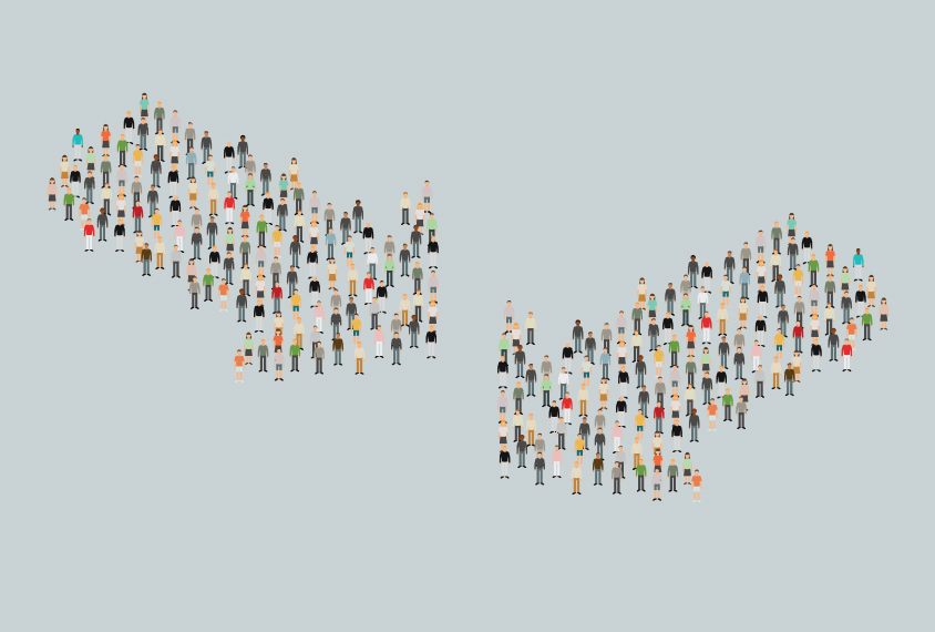 A digital drawing shows two groups of people forming large arrows, see from above.