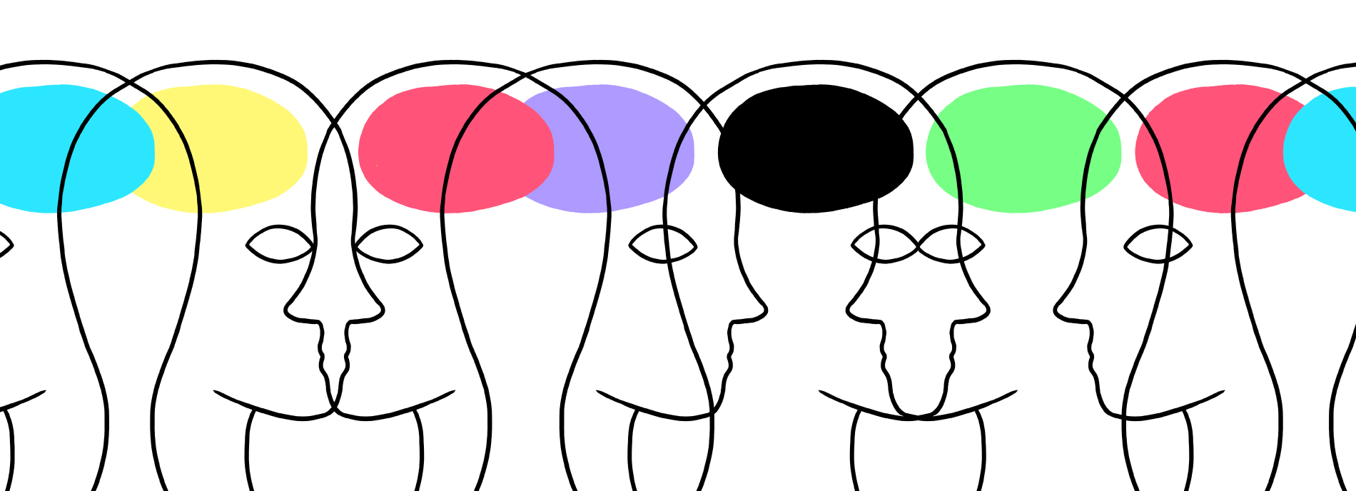 Illustration of a row of transparent heads in profile--we can see different colors in the brain areas.