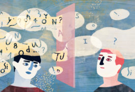 Illustration shows two people communicating, word bubble above head show that one person is getting less information.