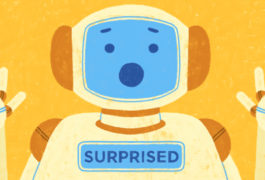 Drawing shows robot making a surprised face to mimic human emotion.