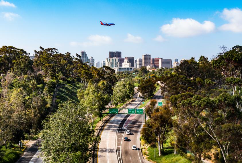 San Diego, California, Cabrillo freeway, plane flying overhead.