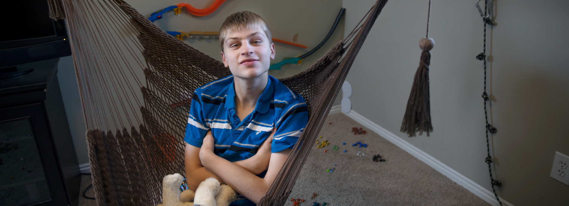 Portrait of boy with autism