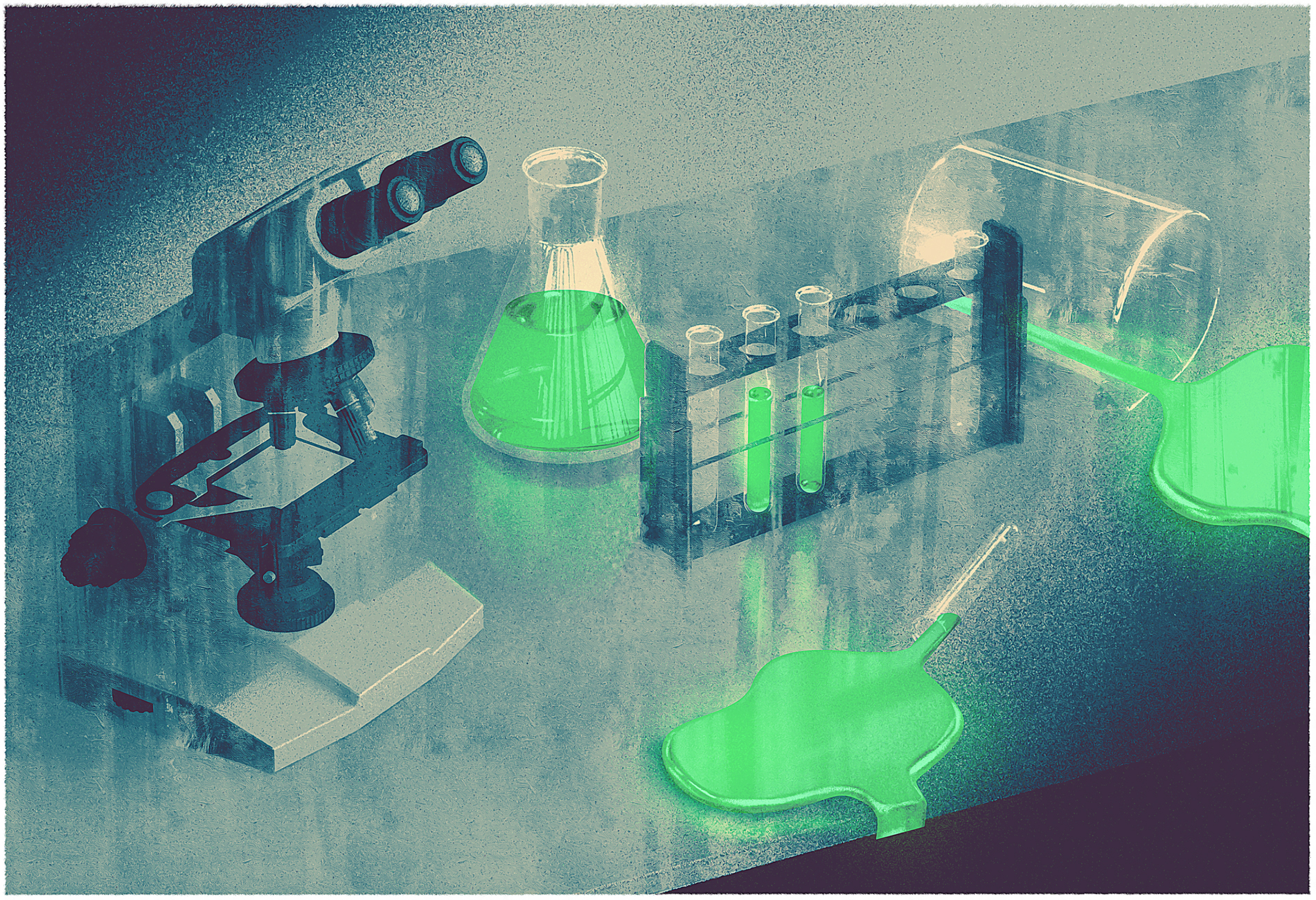 Lab scene with glowing liquid in vials
