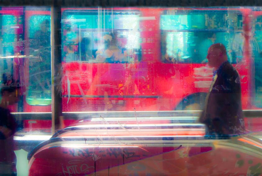 Man in public transit station