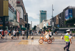 Busy street scene in China