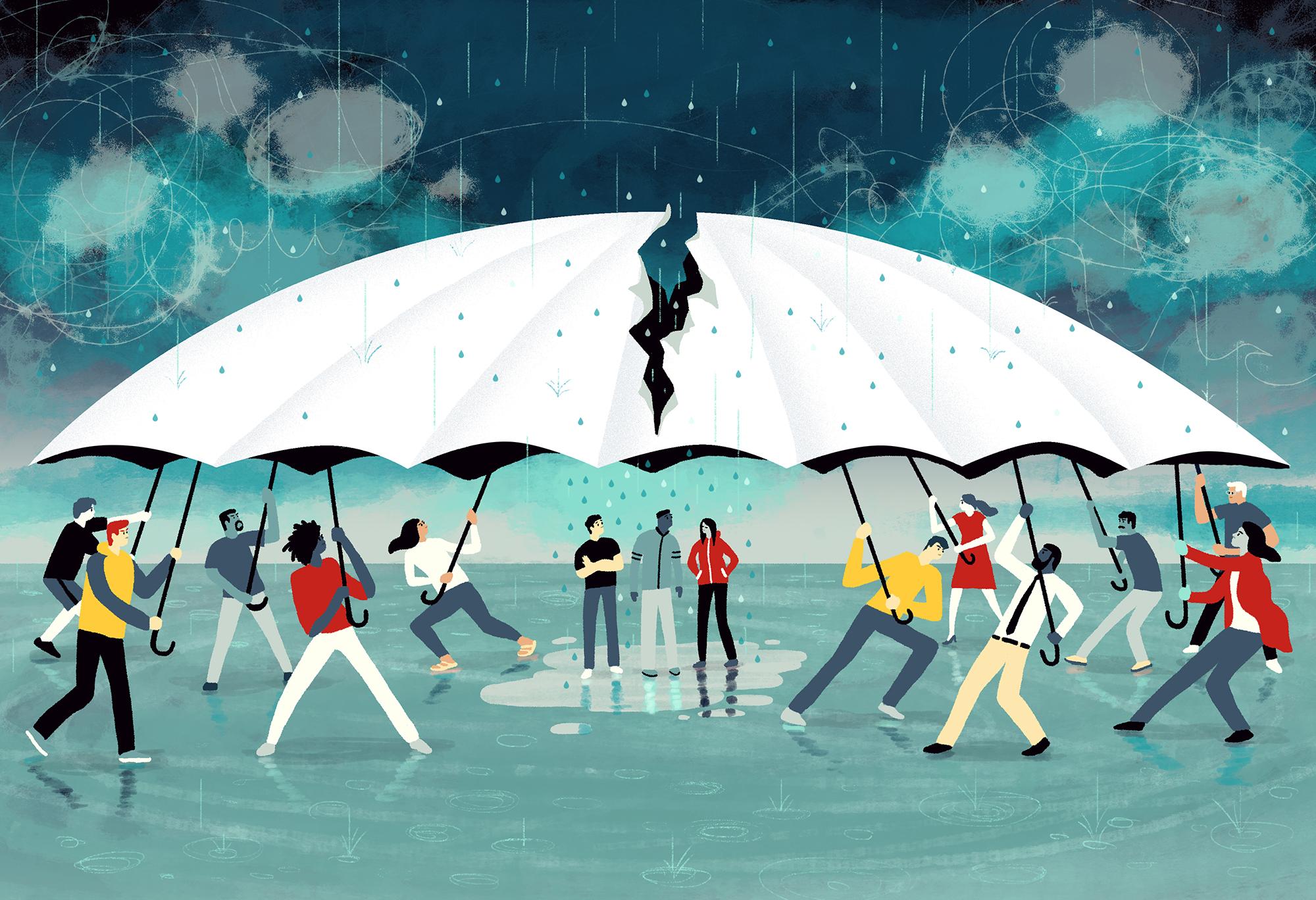 人们争抢一把巨大的雨伞,中间的人暴露在雨中