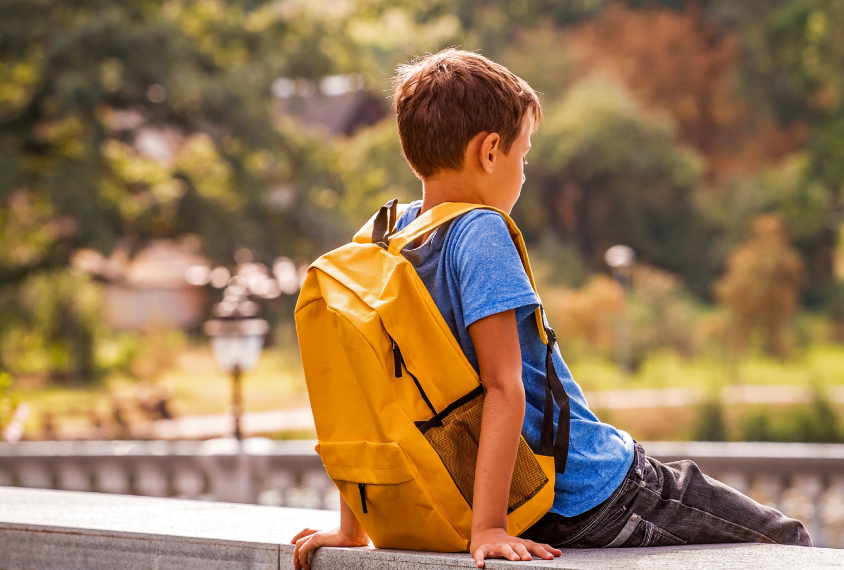 Boy wearing his backpack, outside