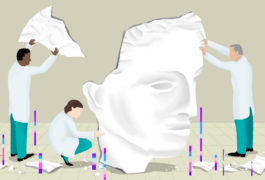 Illustration of scientists trying to piece together a female head in marble