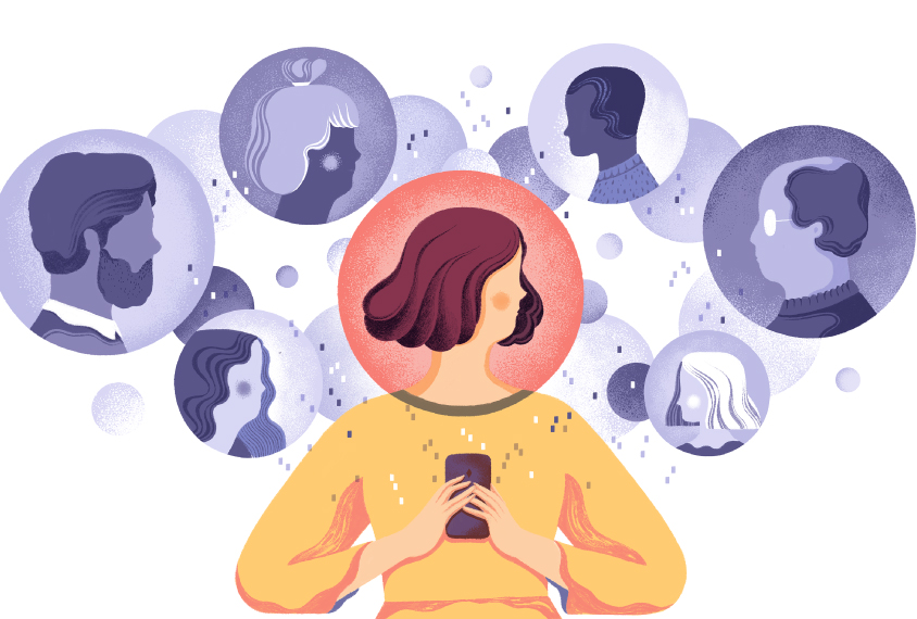Illustration shows woman connecting digitally with other parents