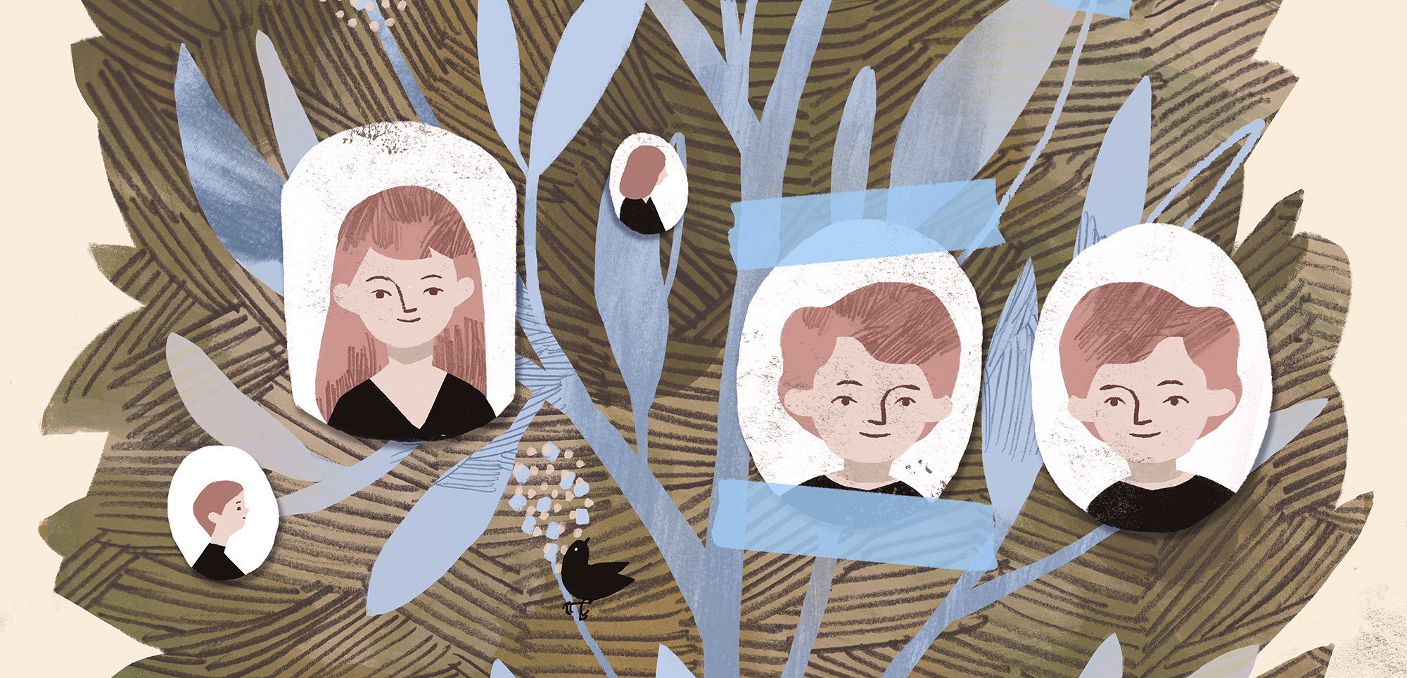 Illustration of portraits of various family members on a 'family tree'
