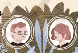 Man and woman portraits on a 'family tree'