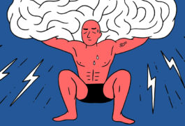Illustration of a strong man holding up a oversized brain