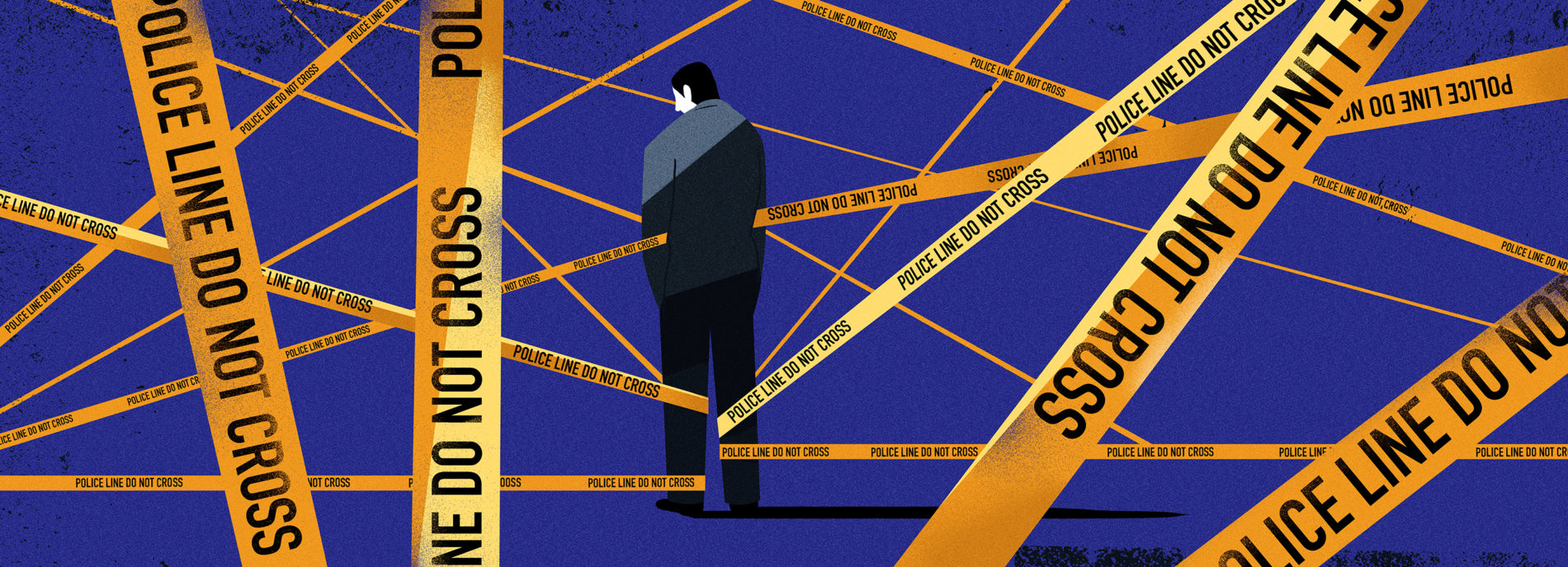 Illustration shows man penned in by Police line 'do not cross' yellow tape