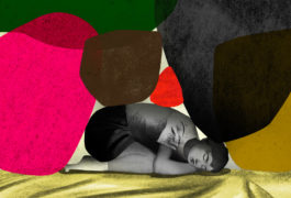 Boy on bed is weighed down by pressures and troubles