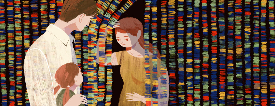 Illustration shows woman peering at her partner and child from behind a 'curtain' of genome sequence