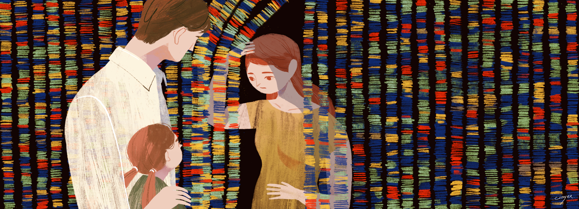 woman behind a 'curtain' of genome sequence
