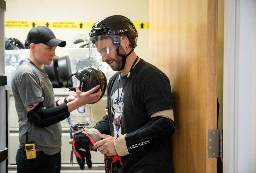 Staff members at Spring Harbor hospital suit up in protective gear to work with children and young adults who can be violent
