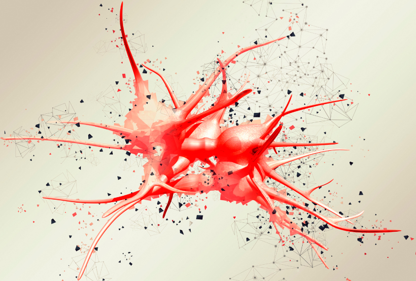triangle effect digital rendering shows the shapes of a red neuron network