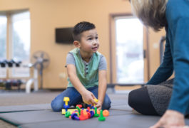 Child points to toy and talks to an adult
