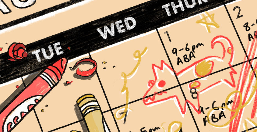 calendar showing busy ABA schedule with child's frustrated scribbles on top