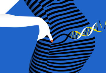black and blue striped dress on pregnant woman shows DNA helix