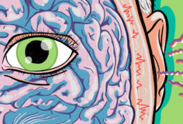 Eye over brain, with sound coming in at the ear
