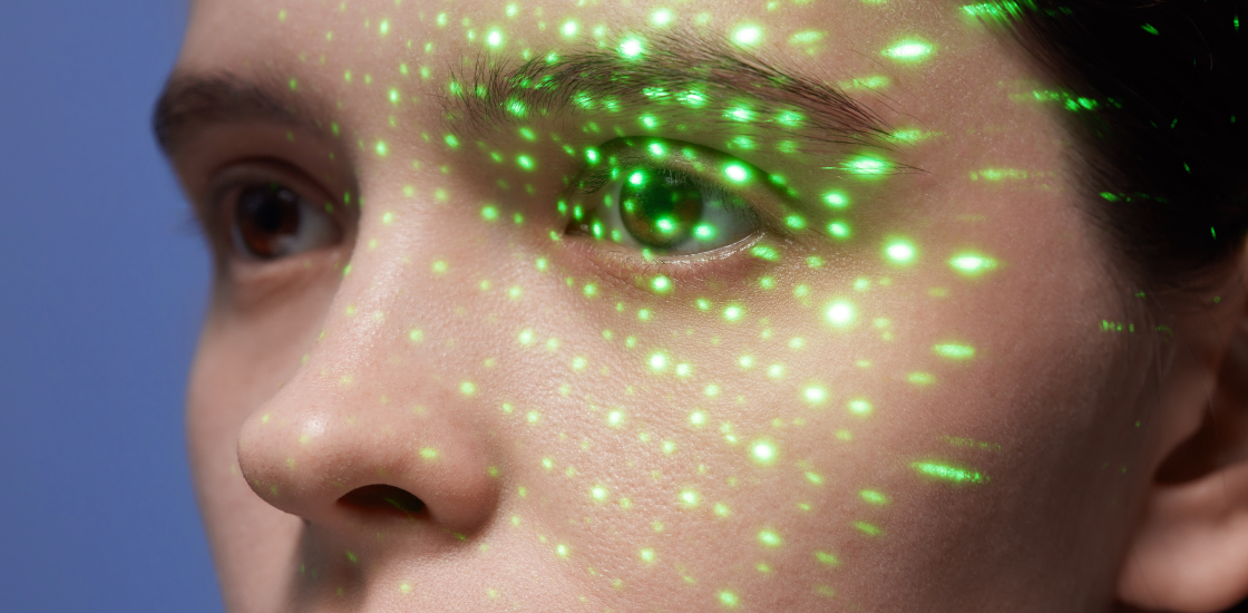 A woman's eye is scattered with light, tracking eye movement
