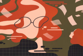 Female researcher with autism looks at distorted view of herself among scientists papers, flying around the distorted face