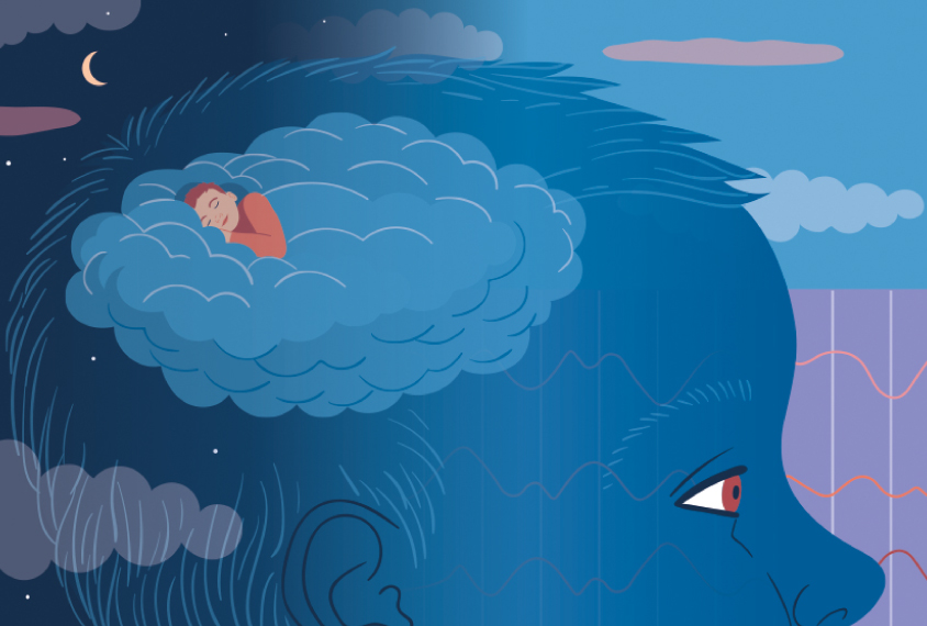 Illustration shows child's head, with an EEG background, and a sleeping figure floating in the clouds above his head.