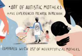 54% of autistic mothers report that professionals involved with their children often don't believe them, compared with 31% of neurotypical mothers. 41% of autistic mothers feel that agencies do not support them sufficiently when they ask for parenting help. 68% of neurotypical mothers feel they can turn to others for parenting support. Only 41% of autistic mothers feel the same. 44% of autistic mothers report having anxiety that affects their ability to communicate, compared with 6% of neurotypical mothers. 38% of autistic mothers rarely or never disclose their autism diagnosis to professionals when talking about their children. 94% of neurotypical mothers say they can cope with parental multitasking. Only 51% of autistic mothers say the same. 85% of neurotypical mothers say they can cope with all the domestic responsibilities of parenting compared with 47% of autistic mothers. Autistic mothers do not differ from neurotypical mothers in putting their children's needs above their own.