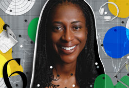 A portrait of a smiling black woman against an illustrated, colorful background.