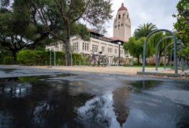 Scene showing empty bike racks on Stanford campus.