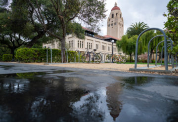 Scene showing empty bike racks on Stanford campus.