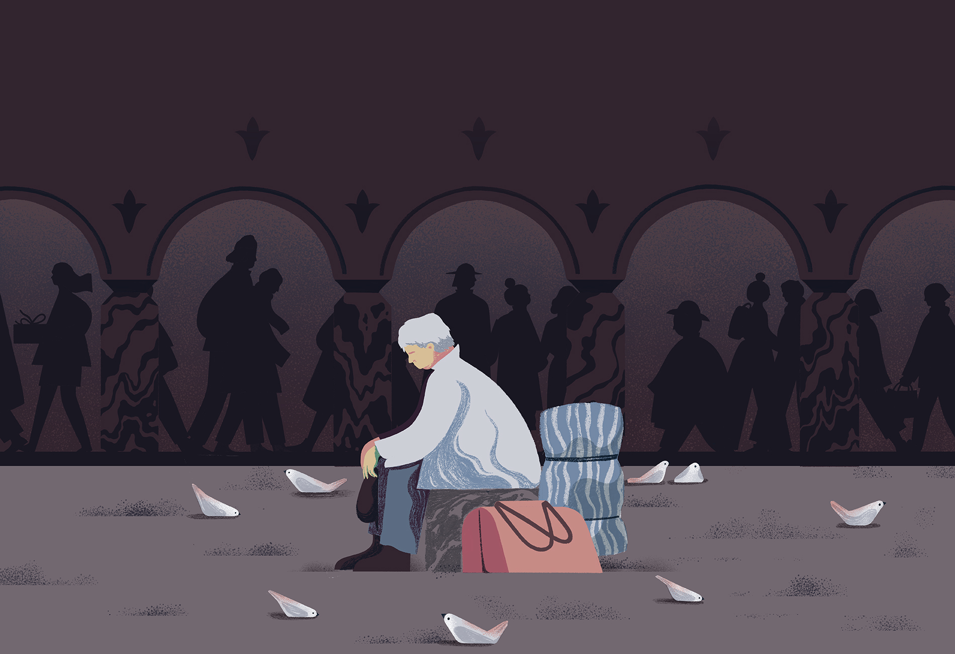Illustration of a man sitting alone with two suitcases, surrounded by birds, while shadows of people walk in the background.