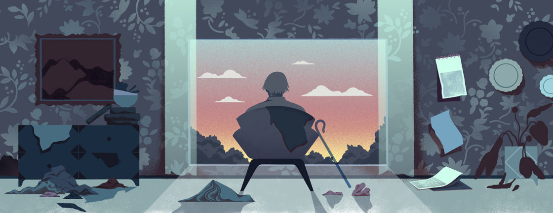 Illustration shows older person in chair in messy house, looking out the window at a sunset.