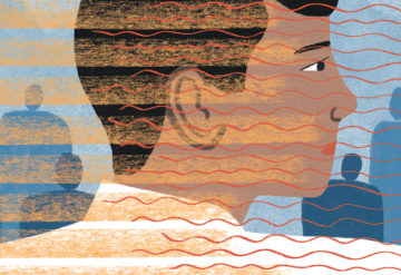 Illustration shows a boy with converging patterns overlapping; these lines signify autism and intellectual disability.