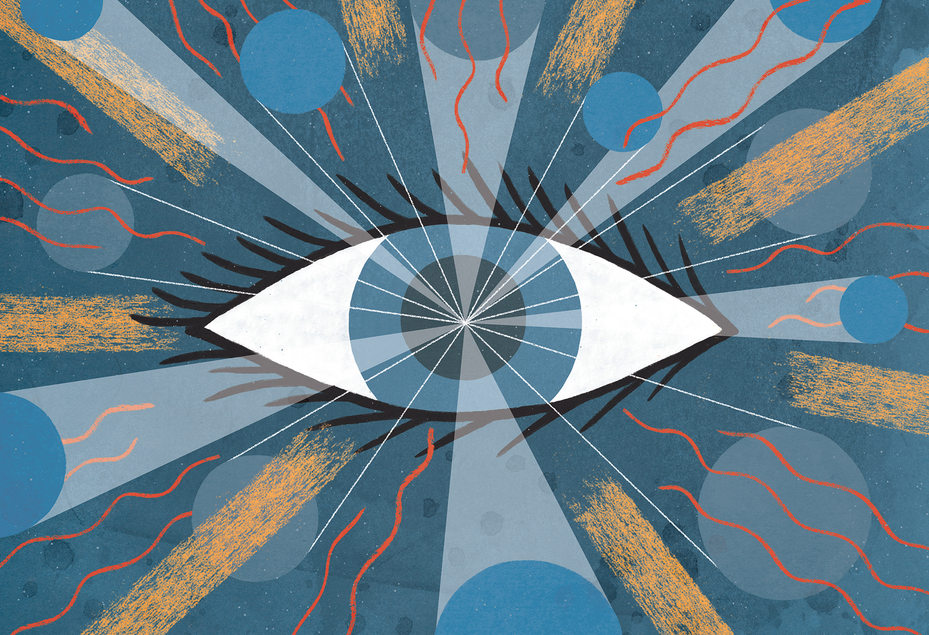 Illustration shows a central eye with different patterns emerging from it.